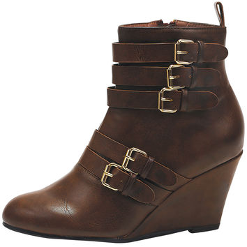 Womens Ankle Boots Stacked Buckle Back Zipper High Wedge Shoes Cognac SZ