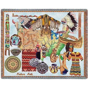 NATIVE AMERICAN ART  AFGHAN THROW BLANKET