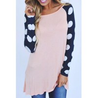 Sweet Scoop Neck Color Block Polka Printed Baseball T-Shirt For Women (AS THE PICTURE,XL) in Long Sleeves | DressLily.com