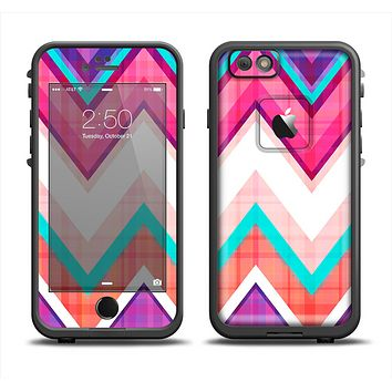 The Vibrant Pink & Blue Chevron Pattern Apple iPhone 6 LifeProof Fre Case Skin Set