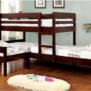 Maxwell Twin Size Low Corner Triple Bunk Bed