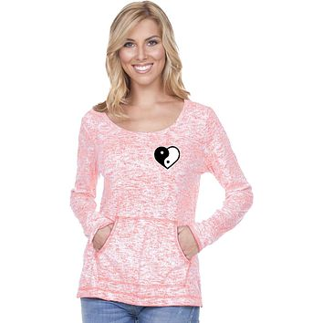 Yin Yang Heart Pocket Print Static Raw-Edge Long Sleeve