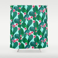 Jade Cactus Bloom Shower Curtain by CRYSTAL ▽ WALEN