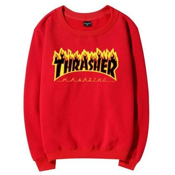 Thrasher flame Hedging pullover Tops Sweater Couple fleece