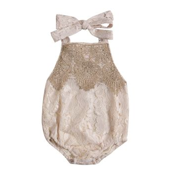 Summer 2017 Newborn Toddler Infant Baby Girl Lace Romper Backless Jumpsuit Clothes Sunsuit With Headband