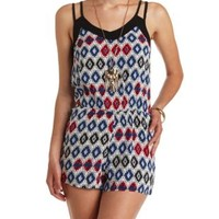 Aztec Print Strappy Romper by Charlotte Russe - Navy Combo