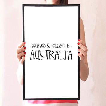 Australia Print, Black and White Art, Typographic Print, Latitude Longitude Art, Home Decor Wall Art, Location Print Instant download,Poster