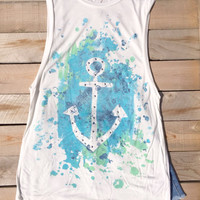 Watercolor Anchor Tank Top
