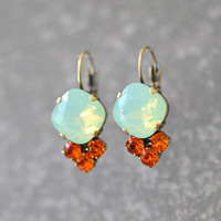 Mint Opal Tangerine Orange Earrings Swarovski Crystal Minty Green Rhinestone Tennis Style Leverback Earrings Crystal Drop Earrings