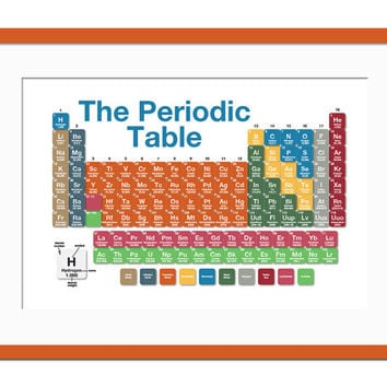 Periodic Table of the Elements - Art Print  - Chemistry Science Poster - Poster for Schools - Teacher Gift - Typography Poster - 18x12 Art