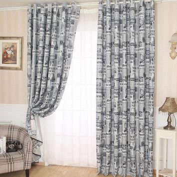 modern Newspapers Pattern Door Window Curtain Drape Panel Scarf Valances Curtain for living room bedroom Size 200cm x 100 cm
