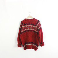Retro pure WOOL sweater. Slouchy, oversized. Vintage sweater. Pullover. Crewneck.  Preppy Red/Navy pattern. Large