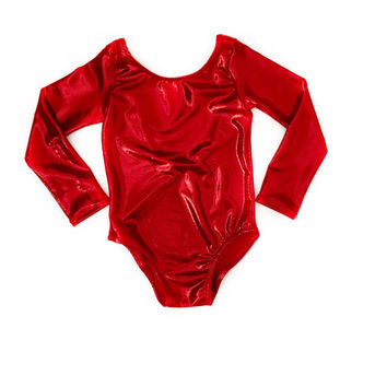 Red leotard- metallic leotard- christmas outfit- girls leotard- baby girl leotard- toddler leotard- girls dancewear- baby's first