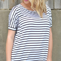 Short Sleeve Piko - Black and White Stipes
