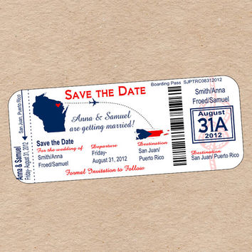 Travel Boarding Pass Save the Date or Wedding Invitation for Destination Wedding- DIY Printable