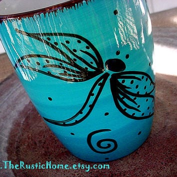 Dragonfly swirls pottery mug in your choice of colors