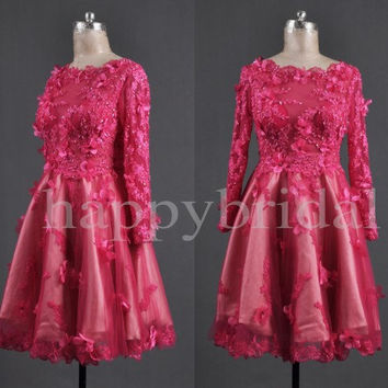 1950s Vintage Long Sleeves Prom Dresses Beautiful Appliques Party Dresses Evening Dresses 2014 New Fashion