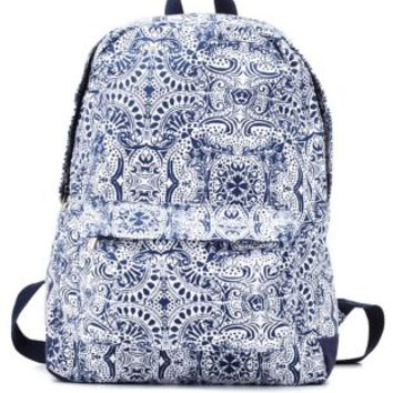Navy Combo Medallion Print Canvas Backpack by Charlotte Russe