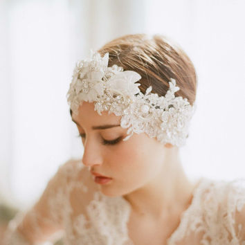 Bridal headpiece lace and crystal headband Oversized by myrakim