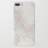 Marble Rose Gold Blush Pink Metallic by Nature Magick iPhone Case by naturemagick