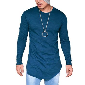 *online exclusive* mens t shirt longline round neck long sleeved