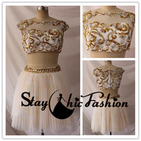 Gold Silver Sequined Beaded Illusion Square Neck Two Pieces Prom Dress Short