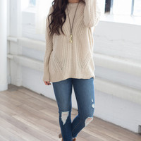 Long Sleeve Cable Knit Sweater - Oatmeal