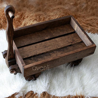 Handcrafted wood wagon Newborn Photography Prop by AvonliCottage