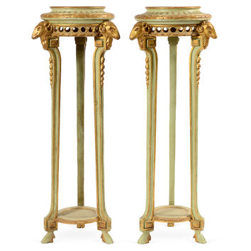 Green Gilt Ram's-Head Pedestals, Pair, Console Table