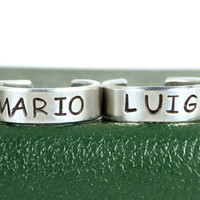Mario and Luigi - Best Friends - Mustache - Friendship Ring Set