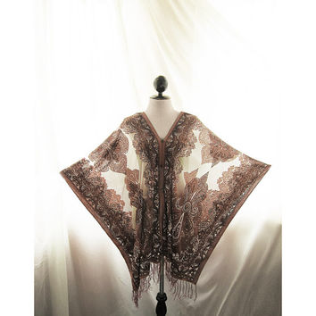 Great Gatsby Boudoir Elven Gothic Brown Grunge Steampunk Tribal Fringe Poncho Caftan Scarf Shawl Coverup Butterfly Wings Sheer Dressy Kaftan