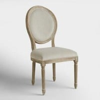 Natural Linen Paige Round Back Dining Chairs Set of 2