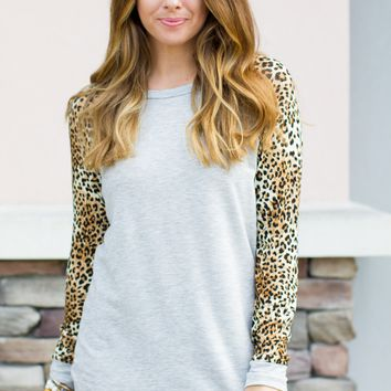Snuggle Baseball Top - Leopard