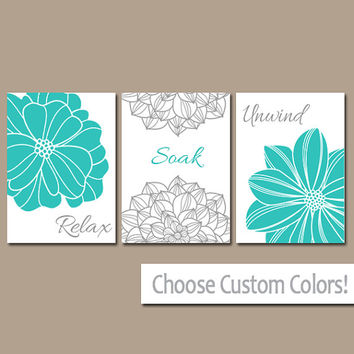 Bathroom decor wall art canvas or print flower home bathroom pictures turquoise gray relax soak unwind