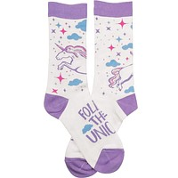 Follow That Unicorn Socks in Lavender, Blue and Pink