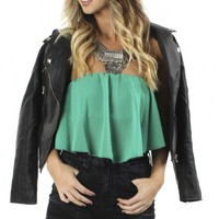 Strapless Ruffle Crop Top Green