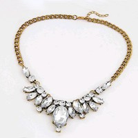 Europe and America gorgeous retro gem false collar temperament horse eye oval acrylic necklace