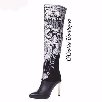 GGotta's Multi Floral Embroidery Sequins Knee High Boots