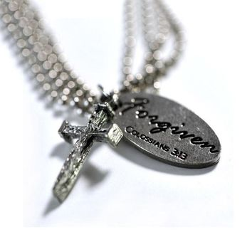 Nail Cross Tag Necklace