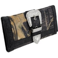 Forest Camouflage Wallet with Rhinestone Buckle