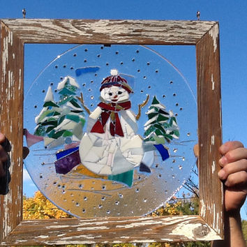 Stained Glass Christmas Snowman Window Art Sun Catcher, Country Christmas Decor, Handmade Barnwood Frame, Hostess Gift, Unique Gift Idea