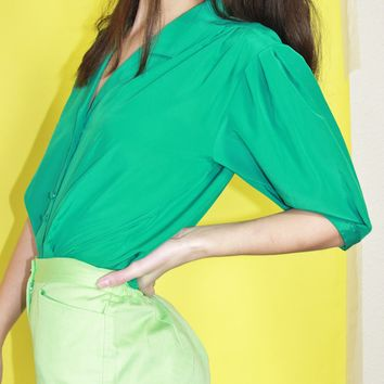 Emerald Collared Blouse / M