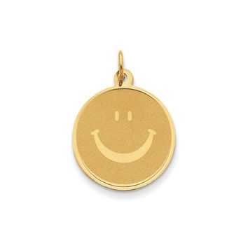 14K Yellow Gold Solid Polished Smiley Face Pendant