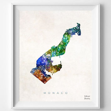 Monaco Map, Watercolor, Gift, Nursery, Living Room, Baby, Painting, Europe, Home Town, Poster, Art, Home, House, Bedroom, world map [NO 468]