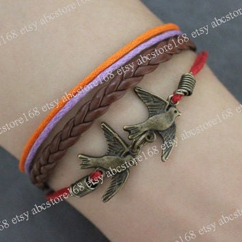 Bracelet-Brid Bracelet Charm Bracelet Rope Bracelet Adjustable Leather Bracelet
