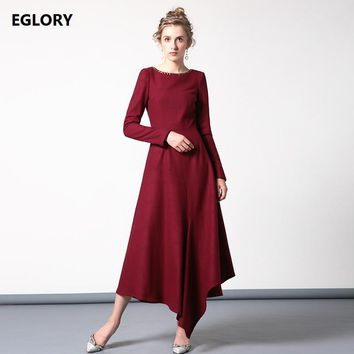 XXXXL Winter Wool Dress 2017 Women Golden Beads O-Neck Asymmetrical Style Large Swing Red Maxi Dress for Party Mother Clothes