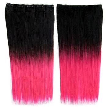 Anime Cosplay Wig Gradient Ramp 5 Cards Hair Extension   BlackTPink#