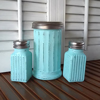 Teal Blue Distressed Shabby Chic Style Salt and Pepper Shakers Sugar Dispenser Farm Table Decor Outdoor Fun