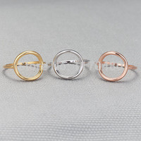 Simple Round Rim Round Engagement Rings Vintage Style Unique Dainty
