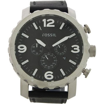 Fossil - JR1436 Nate Chronograph Black Leather Watch